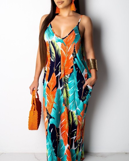 Leaf Printed Spaghetti Strap Maxi Dress