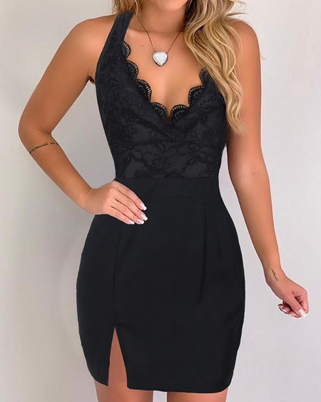 Lace bodice Slit Bodycon Dress