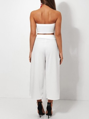 Fashion Tube Top&Belted Wide Pants Set
