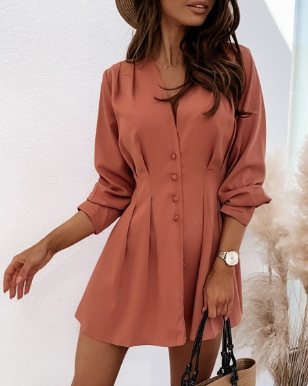 Button Design Ruched Long Sleeve Dress