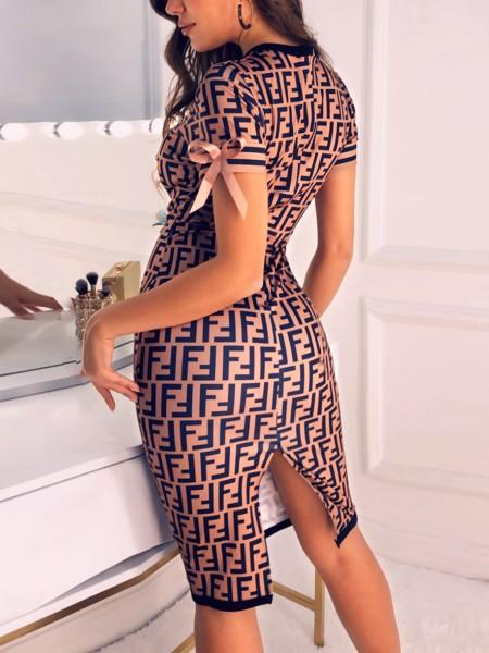 Digital Print Contrast Binding Bodycon Dress