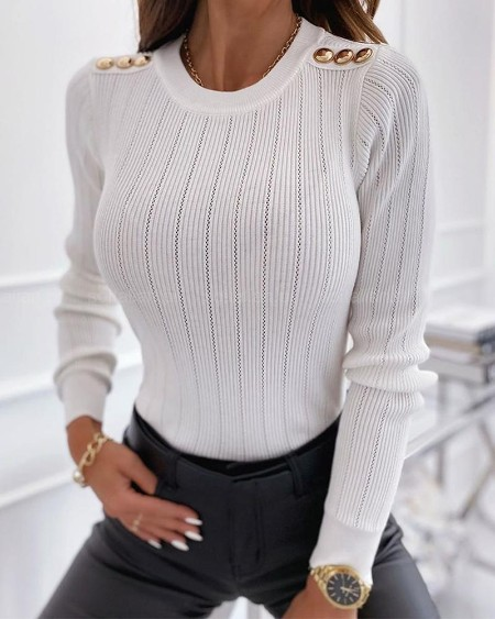 boutiquefeel / Solid Long Sleeve Slim Buttons Splicing Blouse