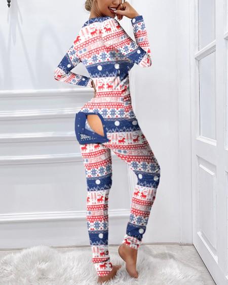 Christmas Print Functional Buttoned Flap Pajamas