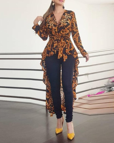 Baroque Print Long Sleeve Dip Hem Blouse