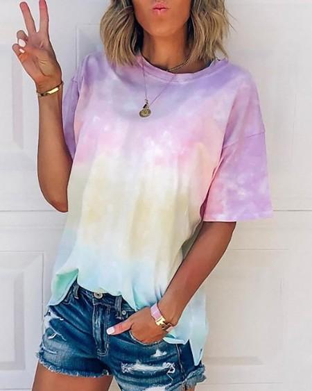 Tie Dye Print Short Sleeve T-shirt
