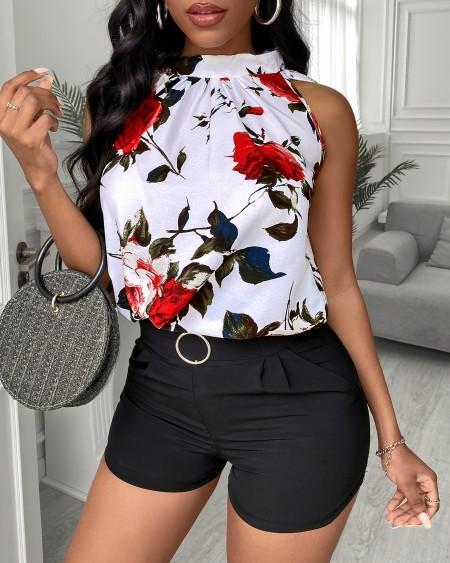 Floral Print Sleeveless Top & Plain Shorts Set