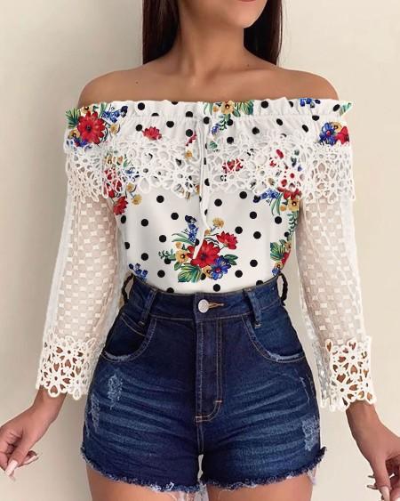 Off Shoulder Crochet Lace Print Casual Blouse