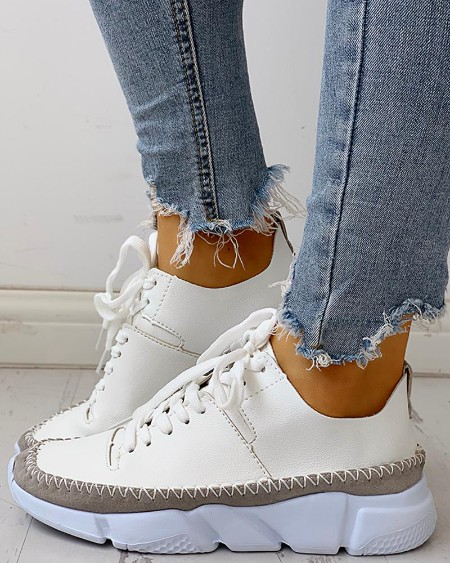 boutiquefeel / Contrast Stitch Lace-Up Muffin Sneakers
