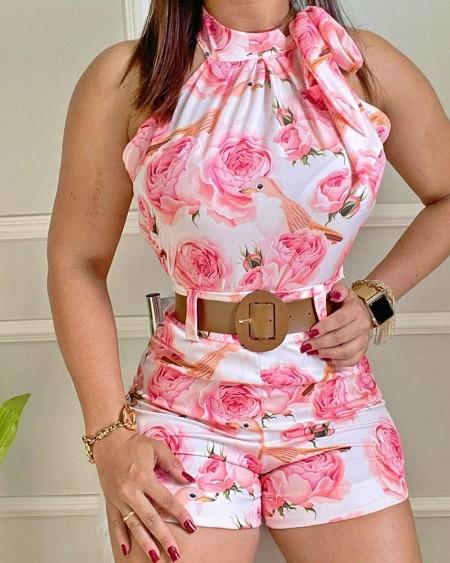 Floral Print Sleeveless Top & High Waist Shorts Set