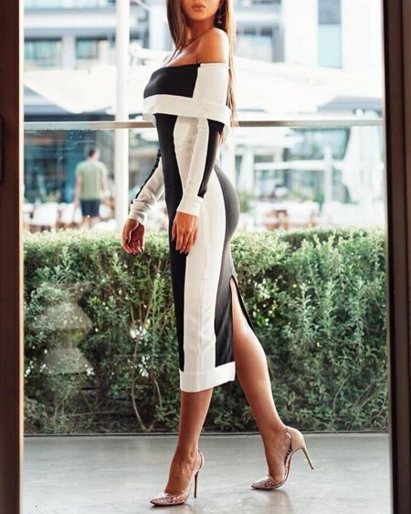 Off Shoulder Colorblock Insert Bodycon Dress
