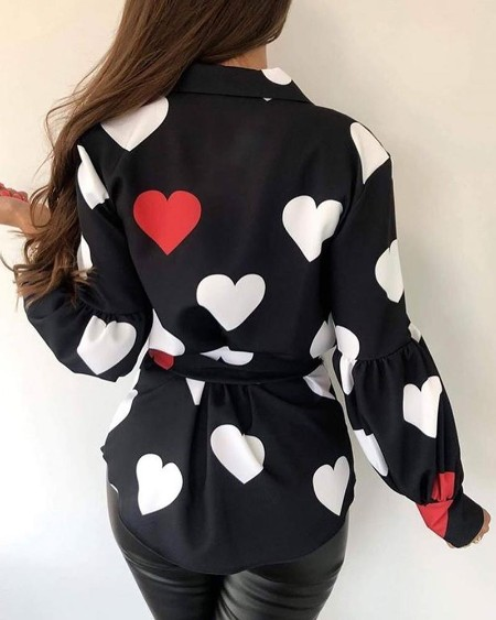 Heart Print Tied Waist Casual Blouse