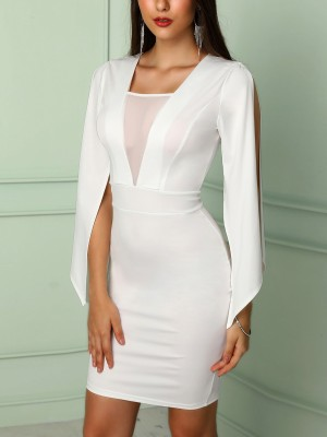 Billowing Split Sleeves Mesh Insert Bodycon Dress