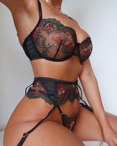 3PCS Sheer Mesh Floral Pattern Lace Sexy Set