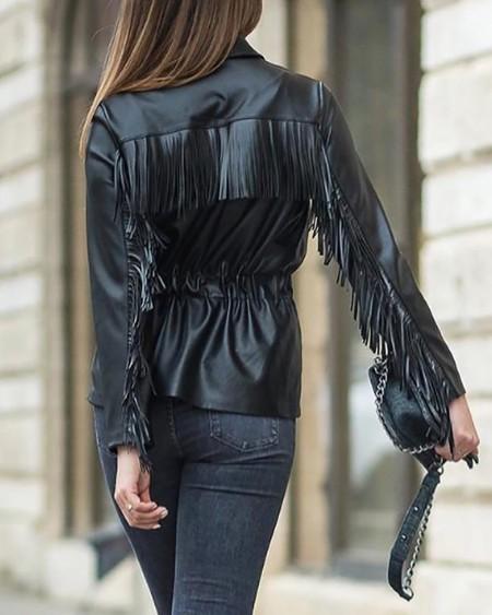 Solid Long Sleeve Tassel Design PU Coat