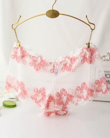 Floral Pattern Lace Mesh Bowknot Detail Panty
