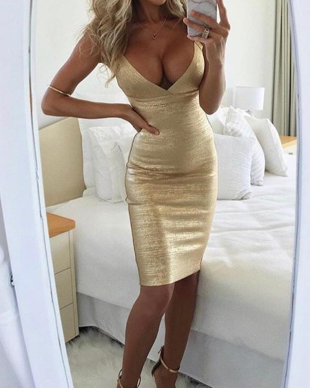 Low Cut Sparkly Bodycon Slip Dress