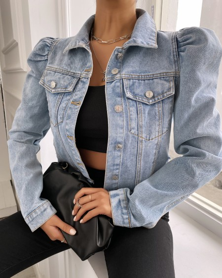Denim Pocket Button Design Casual Coat
