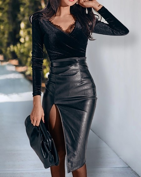 Lace Trim Wrap Top & High Slit PU Leather Ruched Skirt Set