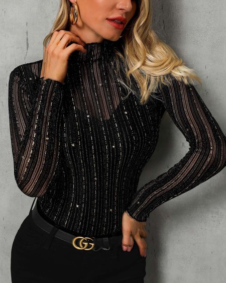 Glitter Mock Neck Mesh Casual Blouse