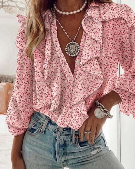 Floral Print Ruffles Long Sleeve Top