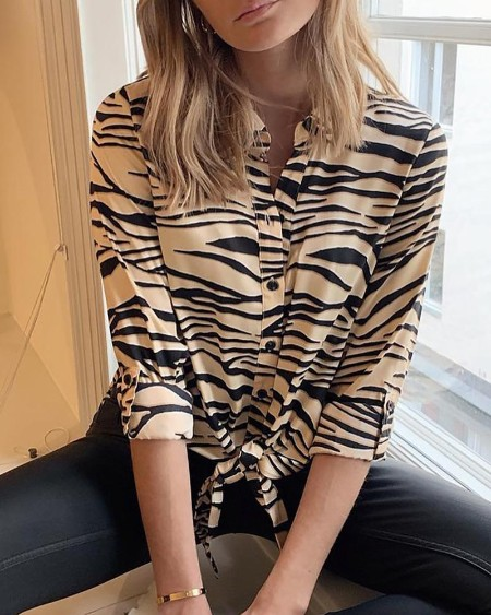 Zebra Print Button Knotted Casual Blouse