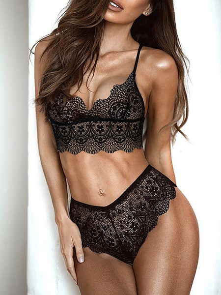 e92076f31d Sexy See Through Lace Strappy Lingerie Sets ...