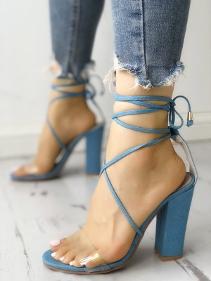 Transparent Lace-Up Chunky Heeled Sandals