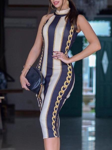 Chain Print Sleeveless Bodycon Dress