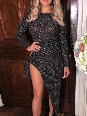Shiny Knot Side High Slit Irregular Party Dress