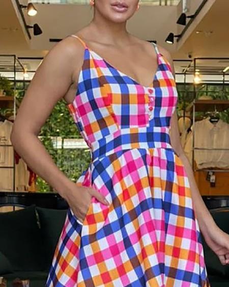 Spaghetti Strap Plaid Print Maxi Casual Dress