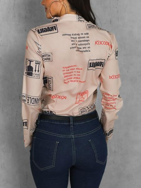 Letter Print Button Design Casual Shirt