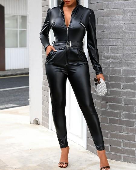 Zipper Design Long Sleeve PU Leather Skinny Jumpsuit