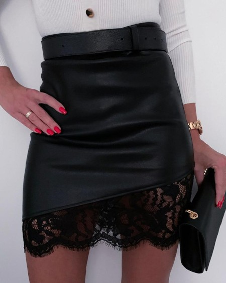 Leather Lace Zipper Design Skirt
