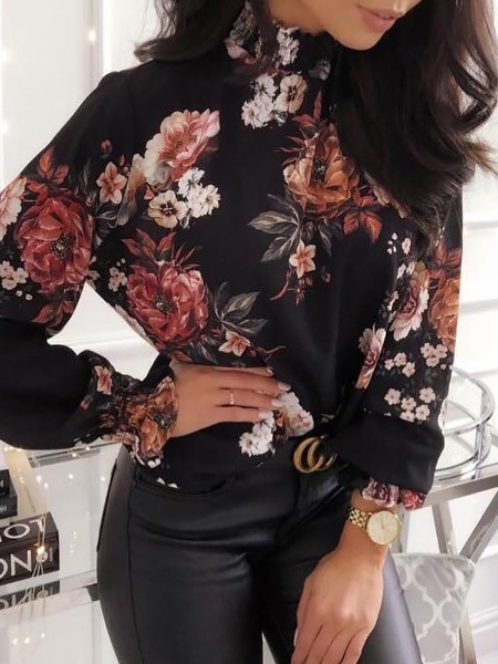 Allover Floral Print Long Sleeve Blouse
