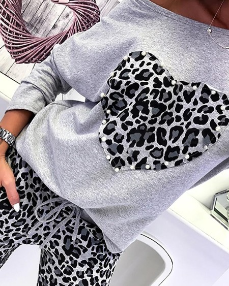 Leopard Print Heart Design Beaded Top & Pants Set