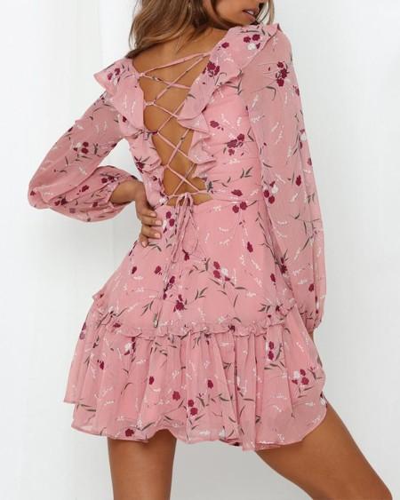 Floral V Neck Chiffon Dress