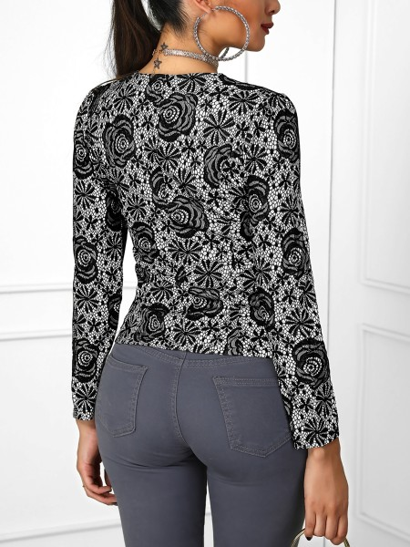 Zip Up Long Sleeve Lace Coat
