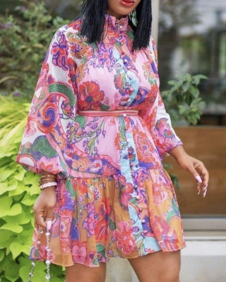 Plus Size Floral Print Long Sleeve Dress