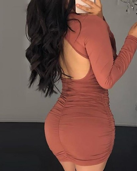 Solid Backless Drawstring Design Ruched Bodycon Dress