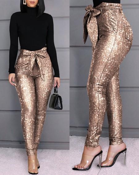 Glitter Sequins Belted Skinny Pants