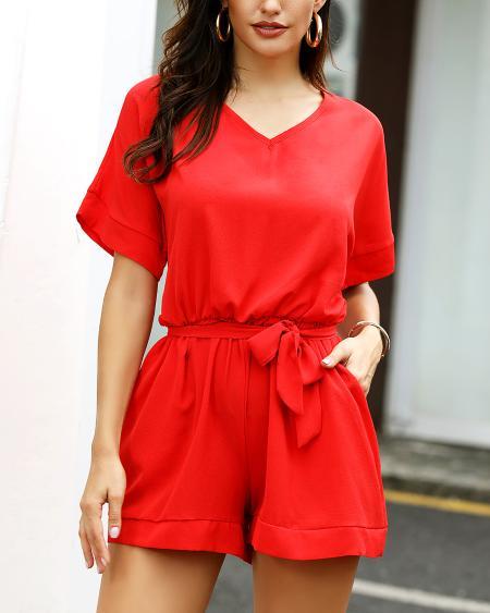 boutiquefeel / V-Neck Short Sleeve Casual Romper