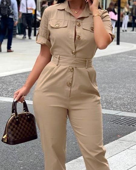 Short Sleeve Buttoned Cargo Jumpsuit