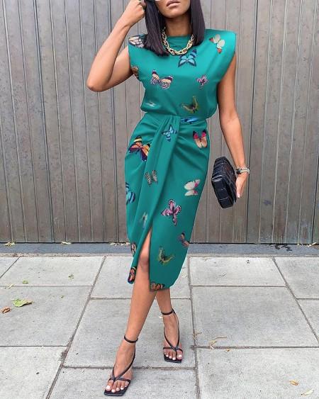 Butterfly Print Tied Detail Sleeveless Slit Dress