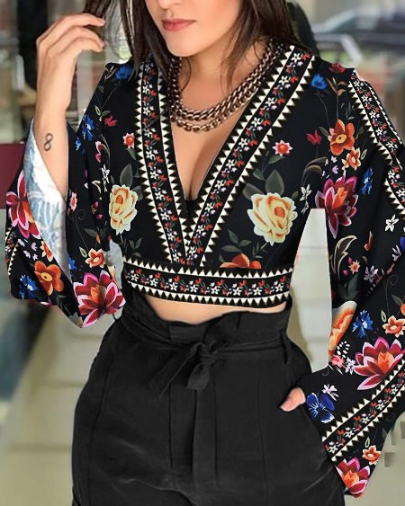 Floral Print Bell Sleeve Cutout Back Blouse
