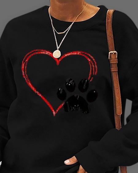 Heart Print Long Sleeve Pullover Casual Sweatshirt