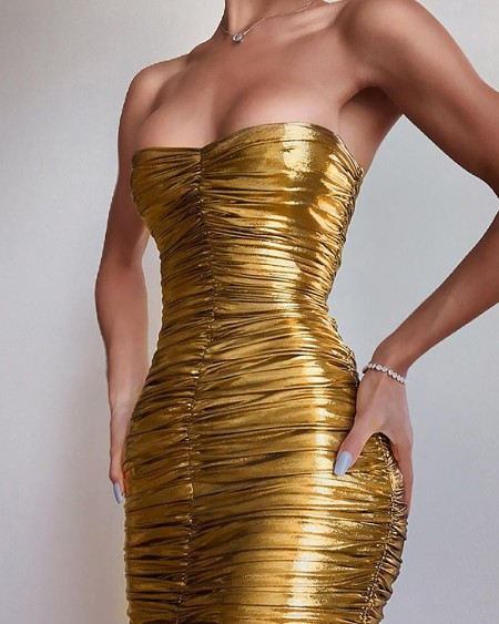 Tube Ruched Bodycon Party Dress