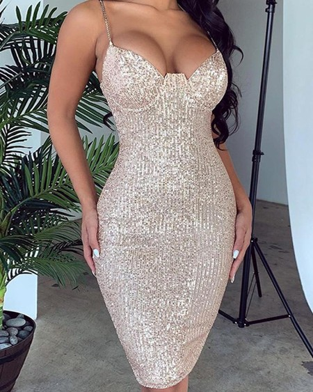 Strappy Sequined Bodycon Mini Dress