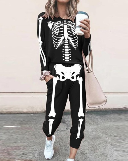 Halloween Skeleton Print Top & Pocket Design Pants Set