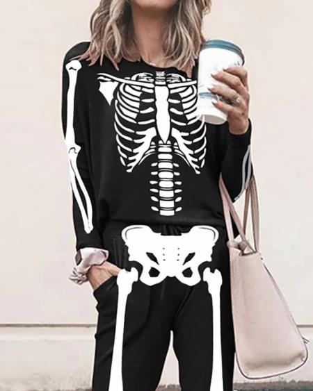 Halloween Skeleton Print Top & Pocket Design Pants Set