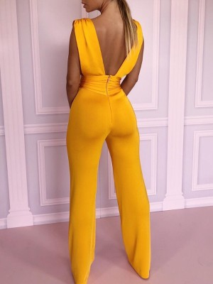 Solid Double V Ruched Waist Sleeveless Jumpsuit